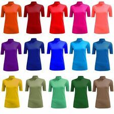 NEW WOMENS LADIES CASUAL PLAIN SHORT SLEEVE POLO NECK TOP T-SHIRT PLUS SIZE 8-26