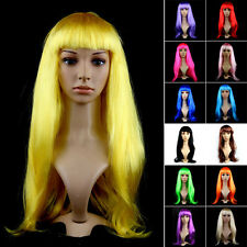 Women Lady Holiday Cosplay Theme Party Dress Full Long Straight Hair Colours Wig