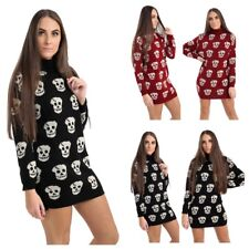 WOMENS LADIES STRETCH SKULL & CROSS PRINT JUMPER DRESS KNITTED TUNIC LONG TOP