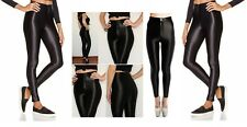 Womens American Apparel Style Shiny High'w Disco Pants, 8,10,12,14 Black/Grey