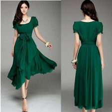 FASHION WOMEN MAXI CHIC CHIFFON VINTAGE LONG BALL PARTY IRREGULAR EVENING DRESS