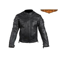 Mens Motorcycle Racer Black Leather Jacket with Multi Pockets  Great Deal