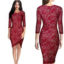 Elegant Women Evening Cocktail Party Ball Lace Bandage Bodycon Sexy Pencil Dress