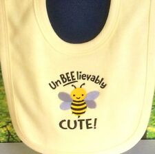 Bibs Baby Clothing Embroidered 'Unbeelievably Cute Bee' Design Unique Gift