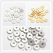 50pcs Disc Loose Brass Beads Spacers 8mm Jewelry Findings Silver/Golden/Platinum