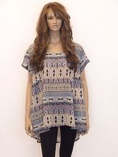 New womens blue and pink aztec print sheer plus size top blouse size 20