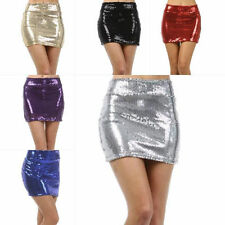 S M L Skirt Sequin Sparkling Metallic Wide Elastic Waistband Mini Club Party New