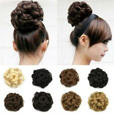 Curly Wavy Synthetic Hair Bun Cover Hairpiece Clip in Scrunchie Hair Extensions