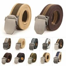 New Men Women Military Weave Waist Casual Pants Unisex Pin Buckle Canvas Belt