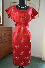 WOW! Vtg 50s MADAME KOO Asian Embroidered Silk Metal Zip Wiggle Party Dress! S-M