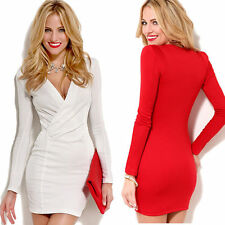 Women Lady's Sexy Long Sleeve Deep V-Neck Formal Evening Bodycon Dress S-XL