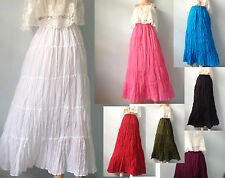 LONG GYPSY SKIRT BOHO HIPPY PEASANT SUN TIERED COTTON FLOATY CORD WAIST HANDMADE