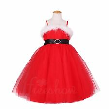 Red Flower Girls Christmas Party Tulle Dress Wedding Pageant Prom Dresses 2T-8