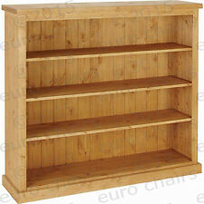 """WIDE 4FT PINE BOOKCASE MADE IN ENGLAND 