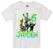 Zootopia birthday shirt Personalized Custom Name Age Kids T-Shirt