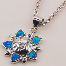 Blue Fire Opal Gemstone Silver Gold Filled Fashion Jewelry Pendant P131