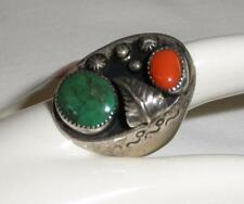 Large ~ Sterling Silver - Green Turquoise ~ Red Coral Ring ~ Sz 10-1/4