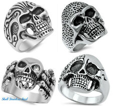 .316L Stainless Steel BIKER SKULL SKELETON DESIGN RINGS SIZES 7-15