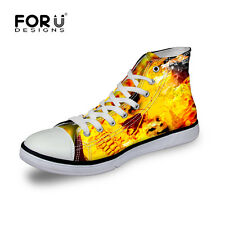 Skull  Boys Girls High Top Canvas Lace up Sneakers Shoes School  Womens Fire NEW
