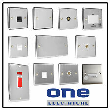Polished Chrome Brushed Electrical Sockets Switch Fused Spur TV Coax Silver RJ45