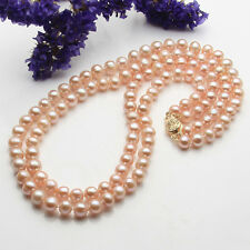 s279 2 rows 7-8mm 8-9mm natural white pink purple cutlured  pearl necklace