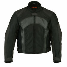 Mens Breathable Mesh and Black Leather Motorcycle Biker Padded Jacket Great Deal