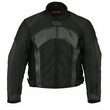 Men's Motorcycle Biker Breathable Mesh and Leather Padded Jacket Waterproof NEW