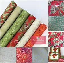 Christmas Fabric 100% Cotton. Traditional design. Robins, Holly & Bows with Gilt