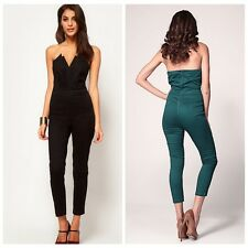 New Womens Celeb Black Plunge Flared Jumpsuit Party Dress Boutique Maxi Playsuit