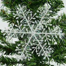 30 Pcs Plastic White Snowflake Christmas Tree Party Hanging Ornaments Decoration