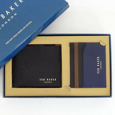 TED BAKER Gift Set NEW Leather Wallet and Card Holder Black Great BOXED gift