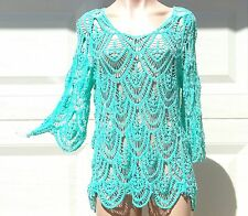 India Boutique 3/4 Sleeve Sea Green Cotton Crochet Top -FREE SIZE, ONE SIZE, NWT