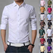 Stylish Men Luxury Casual Dress Slim Fit Tee T-Shirts Long Sleeve Formal Shirts