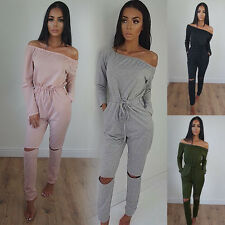 Casual Women Holes Long Pants Jumpsuit Loungewear Sexy Off Shoulder Slim Rompers