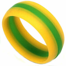 SAFE ACTIVE RINGS 8mm Yellow Green Stripe Packers Silicon Wedding Band Ring