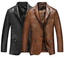 NWT Mens Leather Coat Blazer Business Jacket Motorcycle Outerwear NWT Handsome