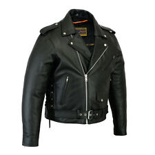 Men's Classic Side Lace Police Style Motorcycle Biker Leather Jacket Size S-6XL