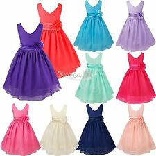 Flower Girl Dress Sequin Mesh Party Wedding Princess Prom Tulle Size 2-14 Formal