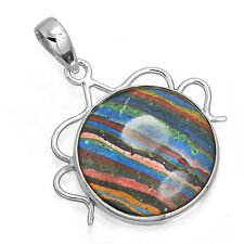 925 Solid Sterling Silver Collectible Pendant Rainbow Calsilica Gemstone zc43664