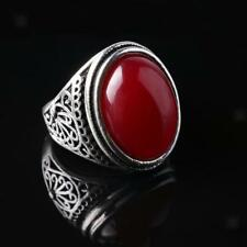 Hot Handmade Mens Fashion Red Oval Stone Motor Biker Crown Finger Ring Size 8-10