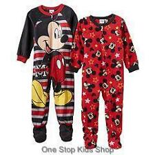 MICKEY MOUSE Toddler Boys 2T 3T 4T Footed Pajamas BLANKET SLEEPER Pjs Disney