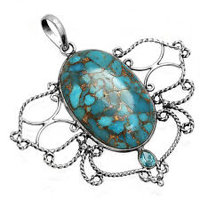 Copper Blue Turquoise Best Seller Pendant 925 Solid Sterling Silver LM41476