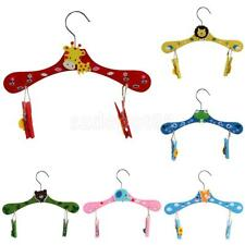 Kids Wooden Clothes Hangers -Trouser Shirt Skirt Coat with Clips