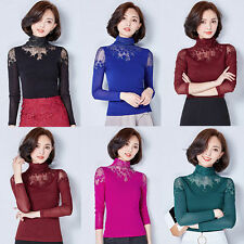 New Fashion Women Long Sleeve Lace Shirts Tops High Collar Blouses Sweet Pretty
