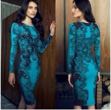 Lipsy Teal Lace Detail Long Sleeved Bodycon Dress Size UK 6 New