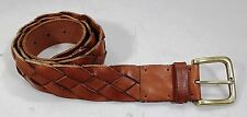 NWT Lucky Brand Braided 100% Leather Caramel Cafe Belt and Buckle