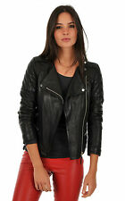 Women Leather Bomber Coat Black Genuine Lambskin Leather Soft Jacket XS-2XL FB96