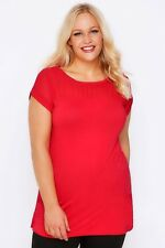 Plus Red Top With Sheer Panel & Short Sleeves 16-32