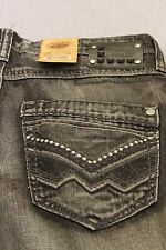 VINTAGE BRASS Men DARK GRAY EMBROIDERED STRAIGHT DENIM JEANS NWT 30 32 34 36 $75