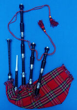 Great Highland Bagpipes Rosewood Black Color Silver Ferrules/Scottish Bagpipes